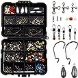 GWHOLE 160 PCS Fishing Accessories Kits Fishing Tackle Kit Box Assorted Fishing Tackle Hooks Fishing Accessories Kit Box