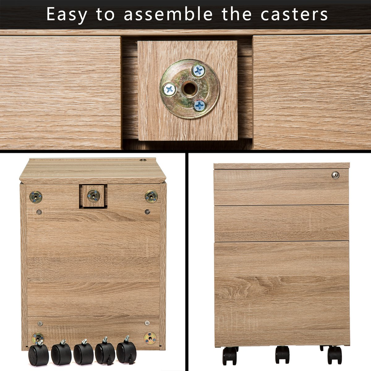 TOPSKY 3 Drawers Wood Mobile File Cabinet Fully Assembled Except Casters (Oak Letter Size) by TOPSKY (Image #4)