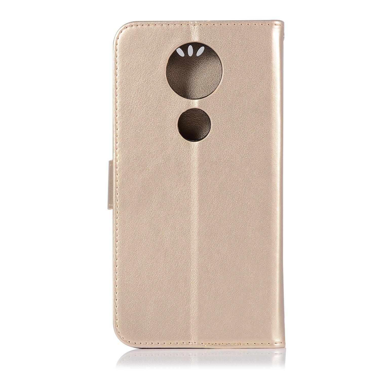 A-slim Moto E5 Plus Case,Moto E5 Supra Wallet Case,Moto E5 Plus PU Leather Case Flip Case Owl Dreamcatcher Embossed Purse Kickstand Cover Card Holders Hand Strap for Motorola Moto E5 Plus Black