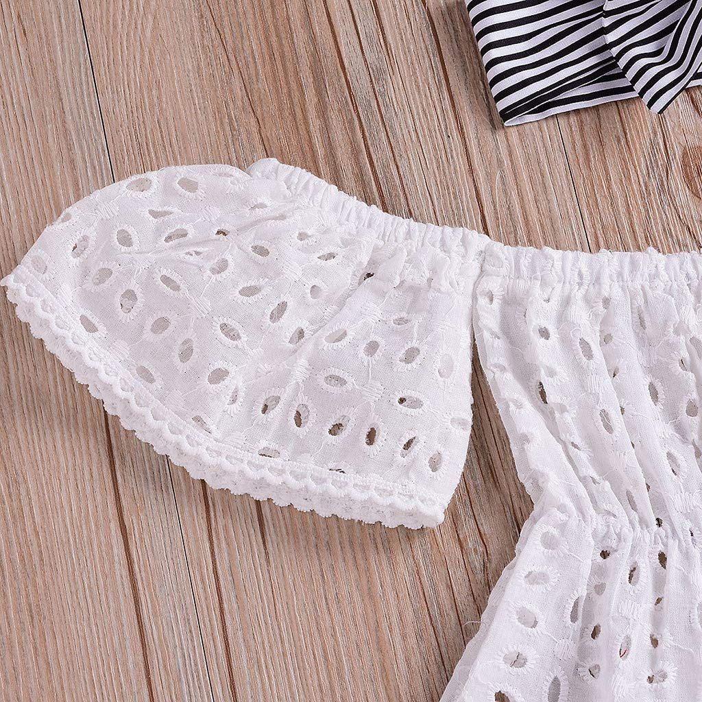 Whitegeese Infant Baby Girls Off Shoulder Solid Lace Tops+Striped Shorts+Headband Outfits