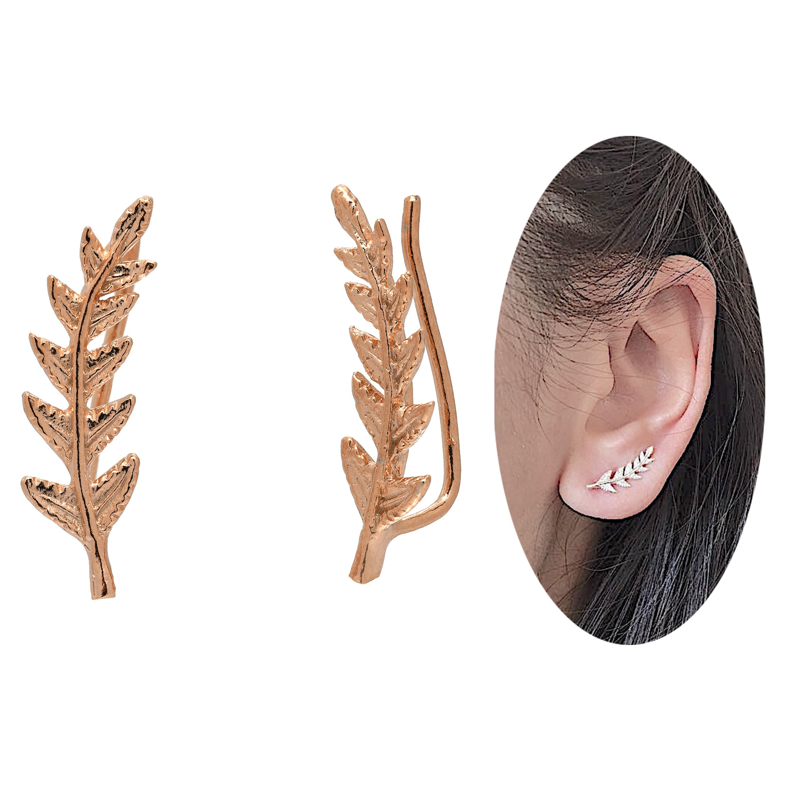 Leaf Crawler Cuff Earrings, Olive Leaf - 925 Sterling Silver with 18K Rose Gold Plating