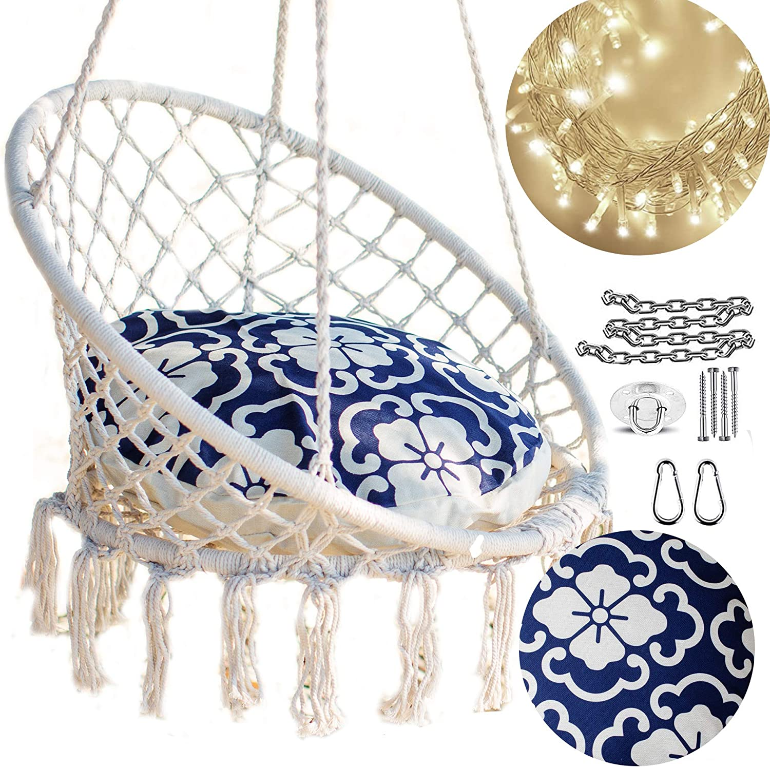 Amazon Com Nooksta Hanging Chairs For Bedrooms Macrame Swing Chair With Included Cushion For Hammock And Hanging Kit For Hammock Stand Tree Hammock Swing Indoor Hanging Chair Moroccan Blue Cushion Garden