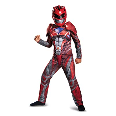 Disguise Ranger Movie Classic Muscle Costume, Red, Large (10-12): Toys & Games