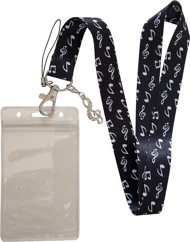 Music Notes Lanyard ID Badge Holder w//Rhinestone Charm A