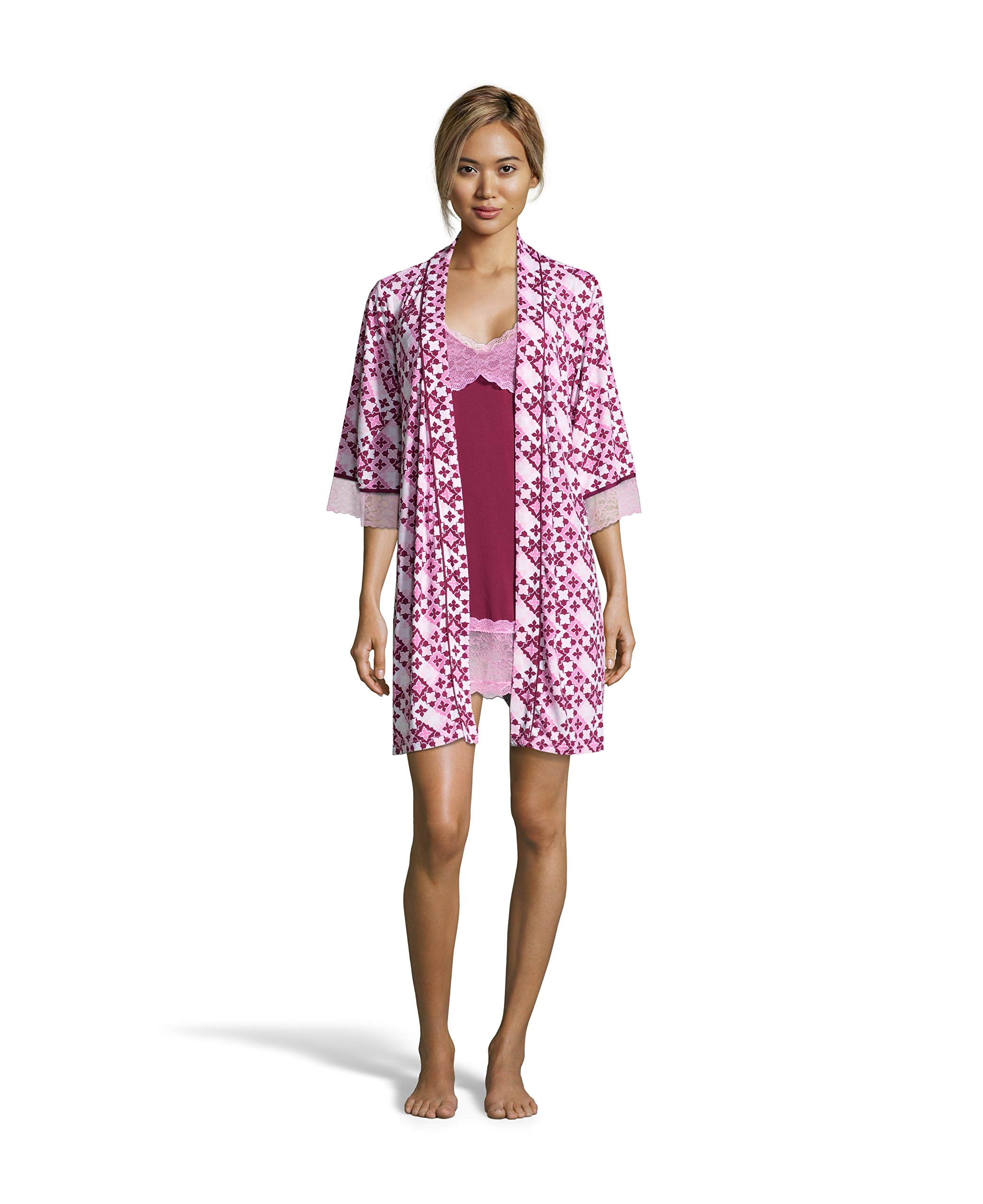 Nanette Nanette Lepore Womens Chemise Nightgown and Floral Belted Robe Pajama Set Raspberry X-Large by Nanette Lepore (Image #1)