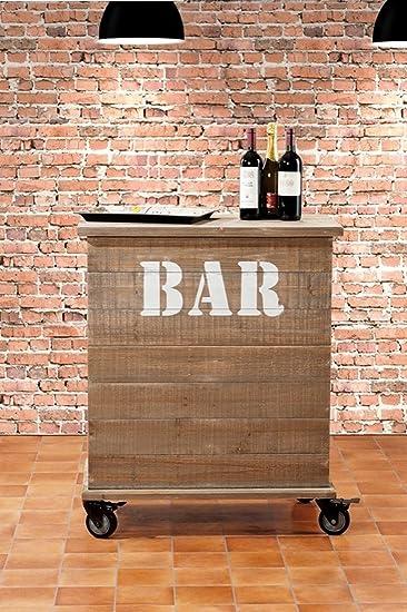 TXT Mobile Bar aus Holz mit 2 Türen und Rollen Retro \'82 x 46,5 x ...