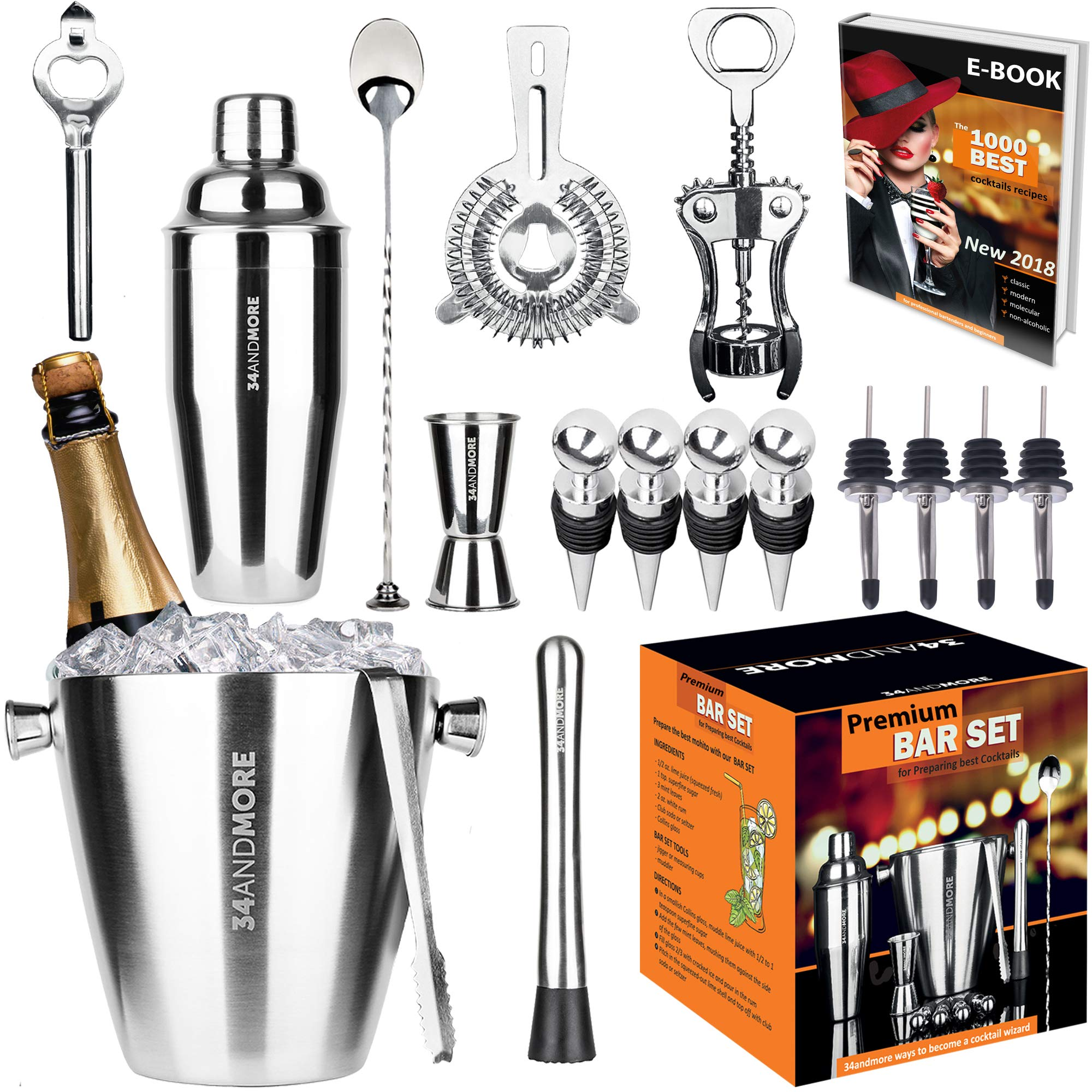 Bar Set 17-Pieces Jumbo Bartender Kit - Premium Cocktail Set Mixology Kit for Bar and Home -All-In-One Cocktail Shaker Set - Bartender Mixology Barware Set for Men and Women - Bar Tools Martini Kit