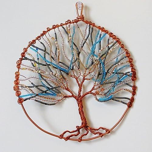 Amazon.com: Beaded Blue and Yellow Copper Tree of Life Wall Art ...