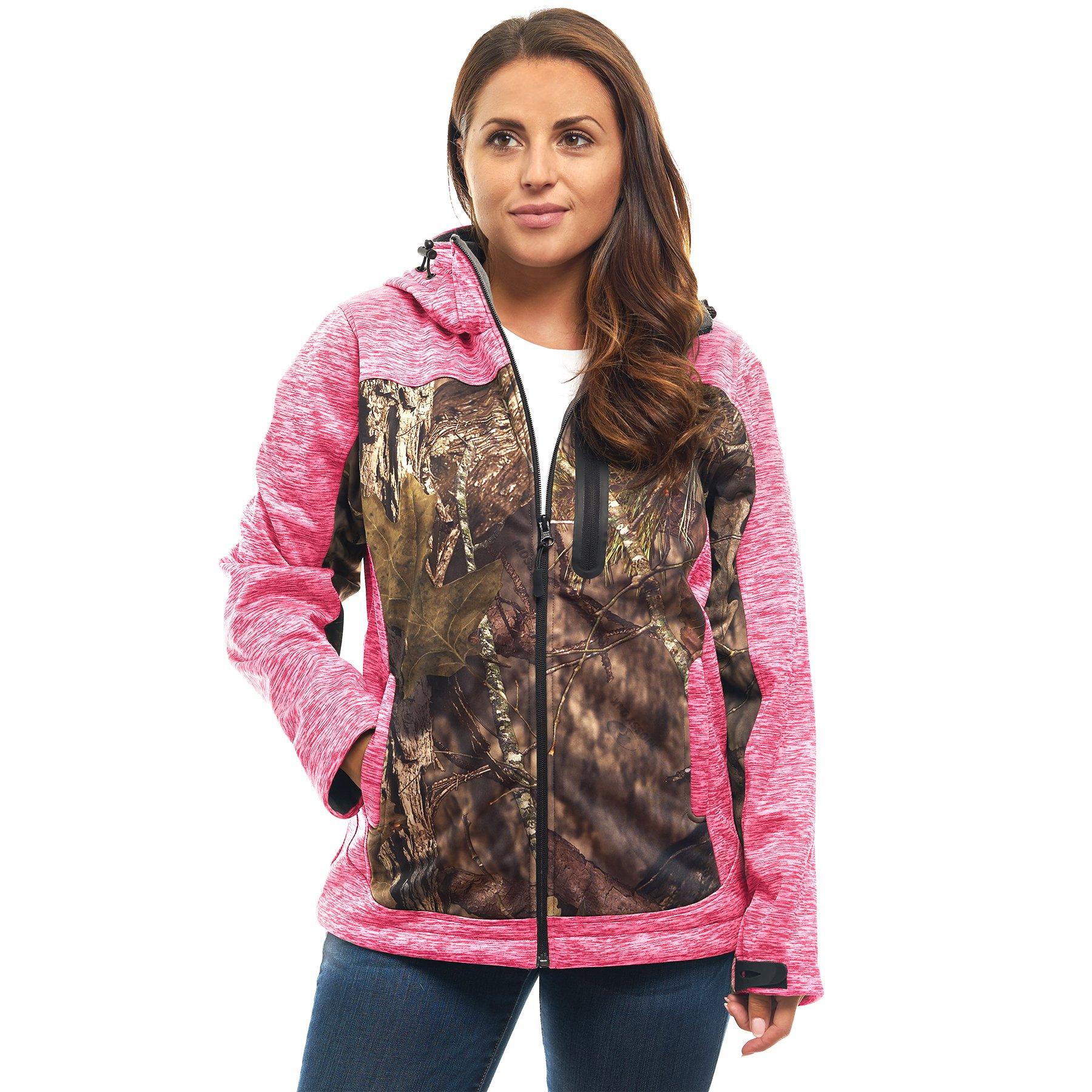 TrailCrest Women's Elite Full Zip Softshell Jacket Mossy Oak Camo Patterns (Pink Heather - Small)