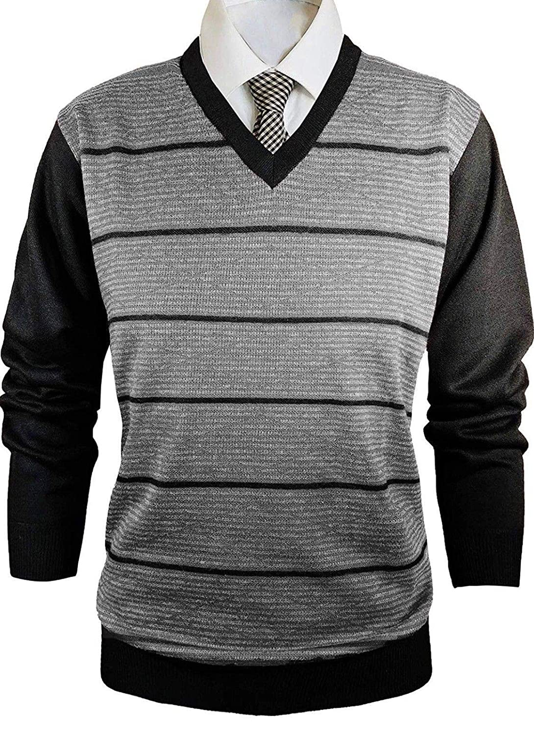 Vitorio Romani by Trends Setters Mens Slim Fit Knitted Long Sleeve V-Neck Sweater in Black
