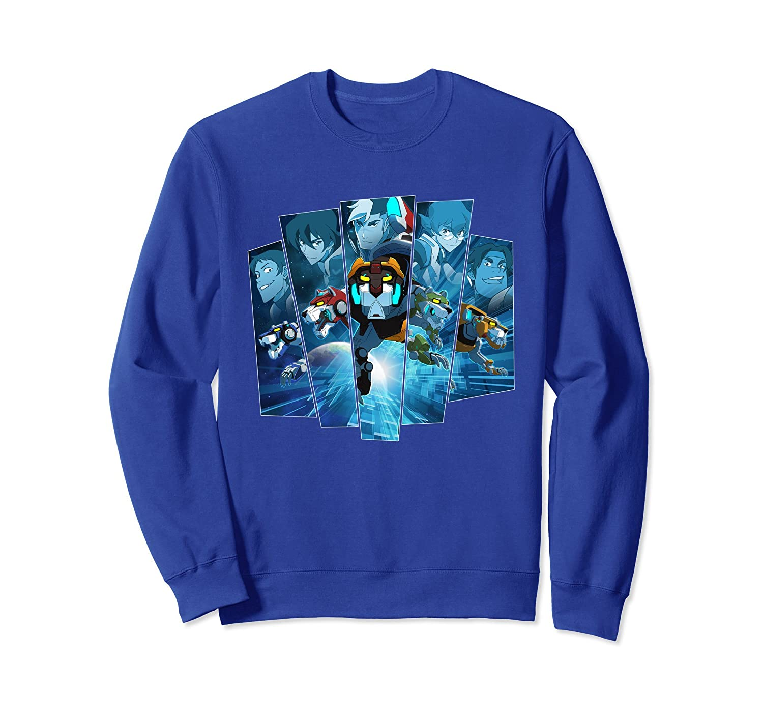 Voltron Legendary Defender 5 Lions in Blue Hue Sweatshirt-TH