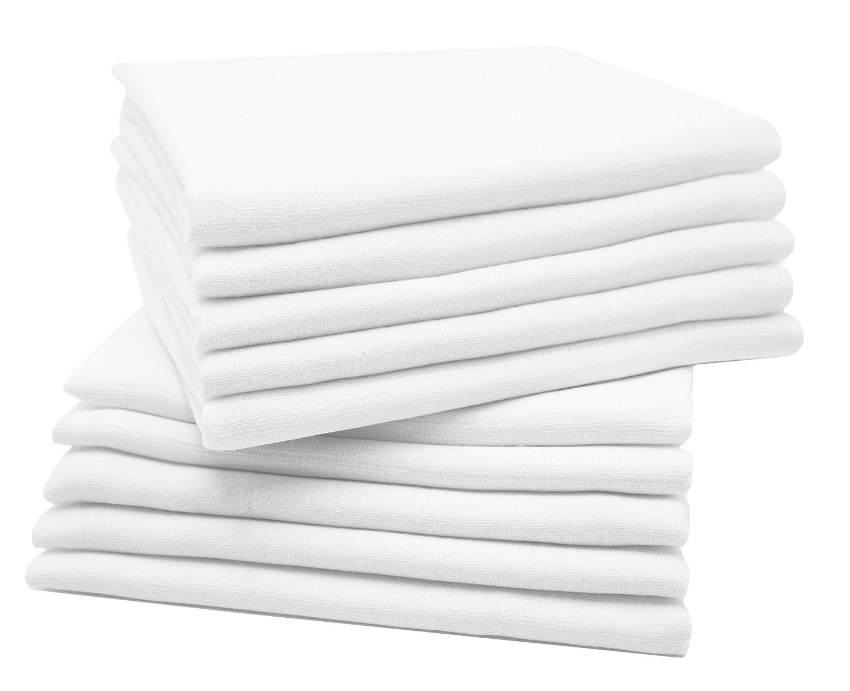 Zollner 10er Set Spucktücher Mullwindeln aus Baumwolle, weiß, ca. 80x80 cm weiß
