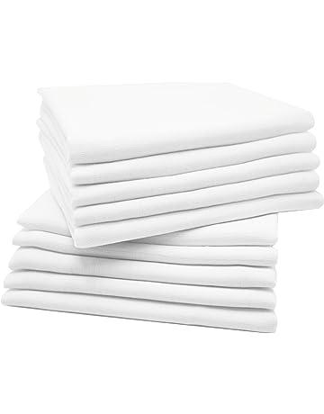 Zollner 10 muselinas para bebé, algodón 100%, 80x80 cm, blancas, 032