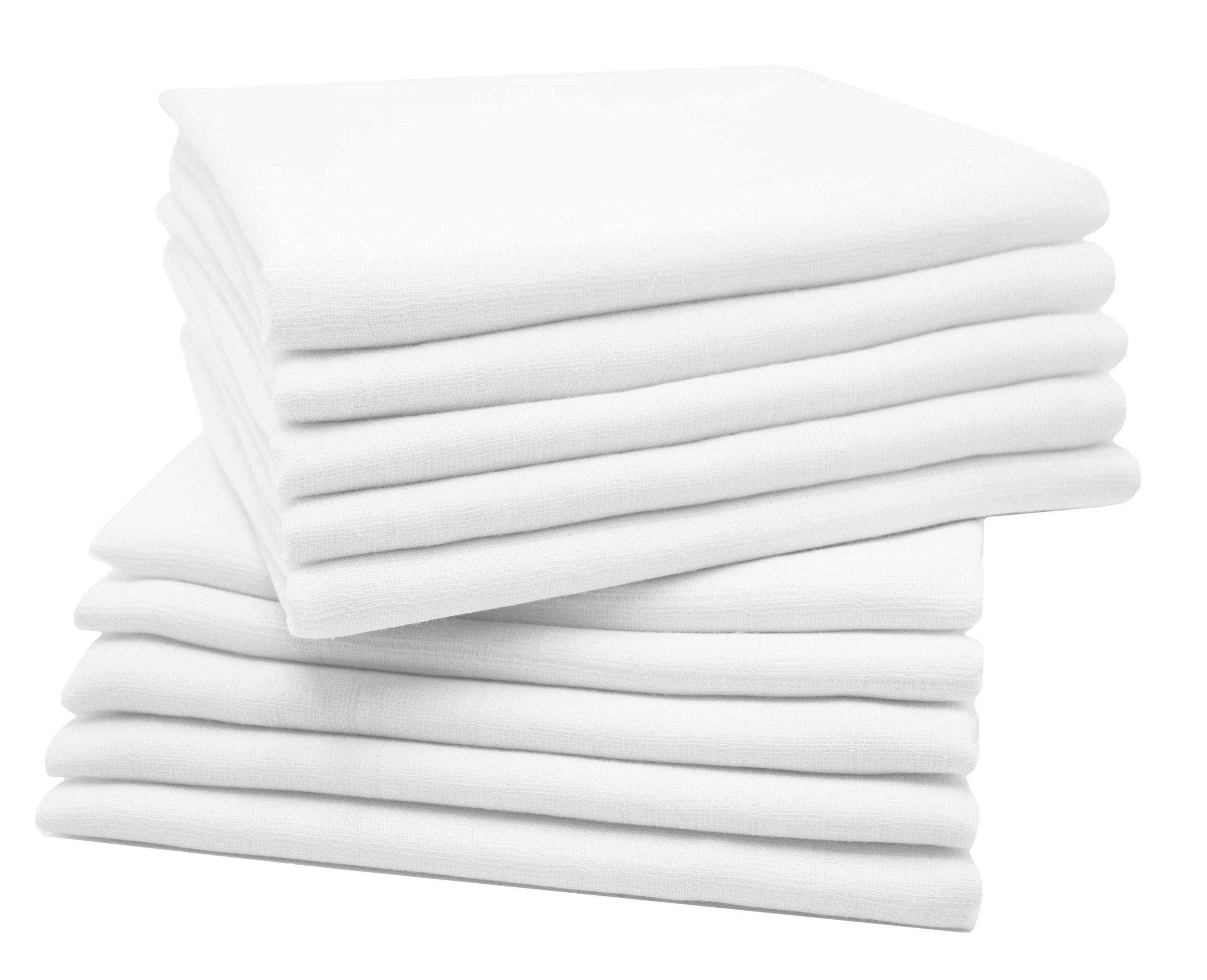 Zollner 10 muselinas para bebé, algodón 100%, 80x80 cm, blancas product image