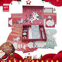 Qaxlry Unicorn-Kids-Stationary Set,50 in 1 Letter Writing Set for Girls,Has Everything A Young Writer Needs to Create…