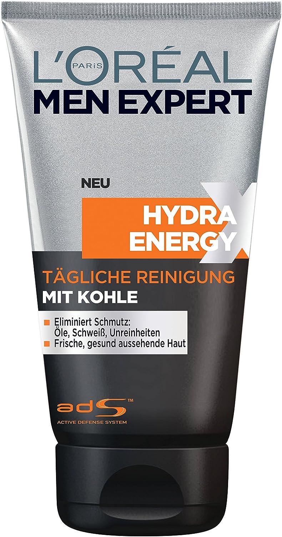 LOreal Men Expert Hydra Energetic Gel Limpiador Set Viaje incluyendo carbón, Desodorante Roll-On Invencible Hombre plus crema hidratante, Paquete 1er (1 x 1 pieza): Amazon.es: Belleza