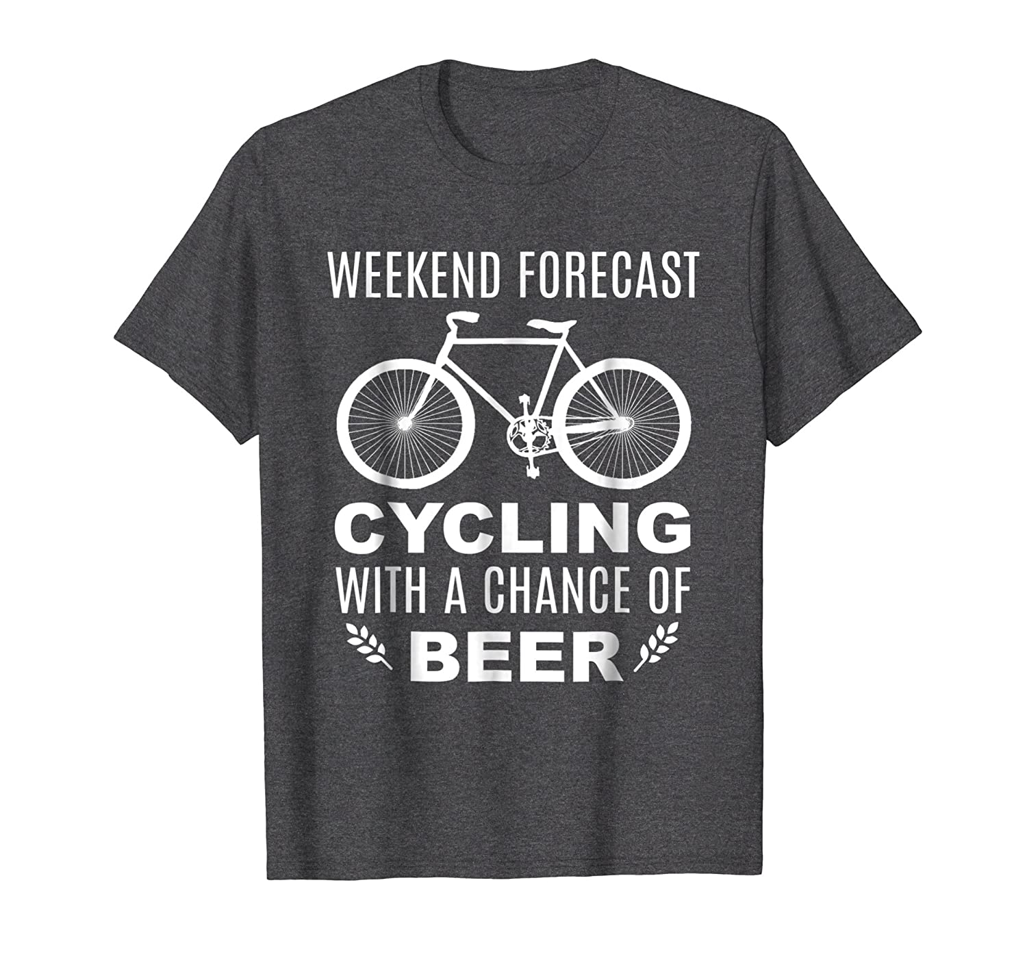 Funny Slogan Bicycle Weekend Forecast Beer T shirt-ln