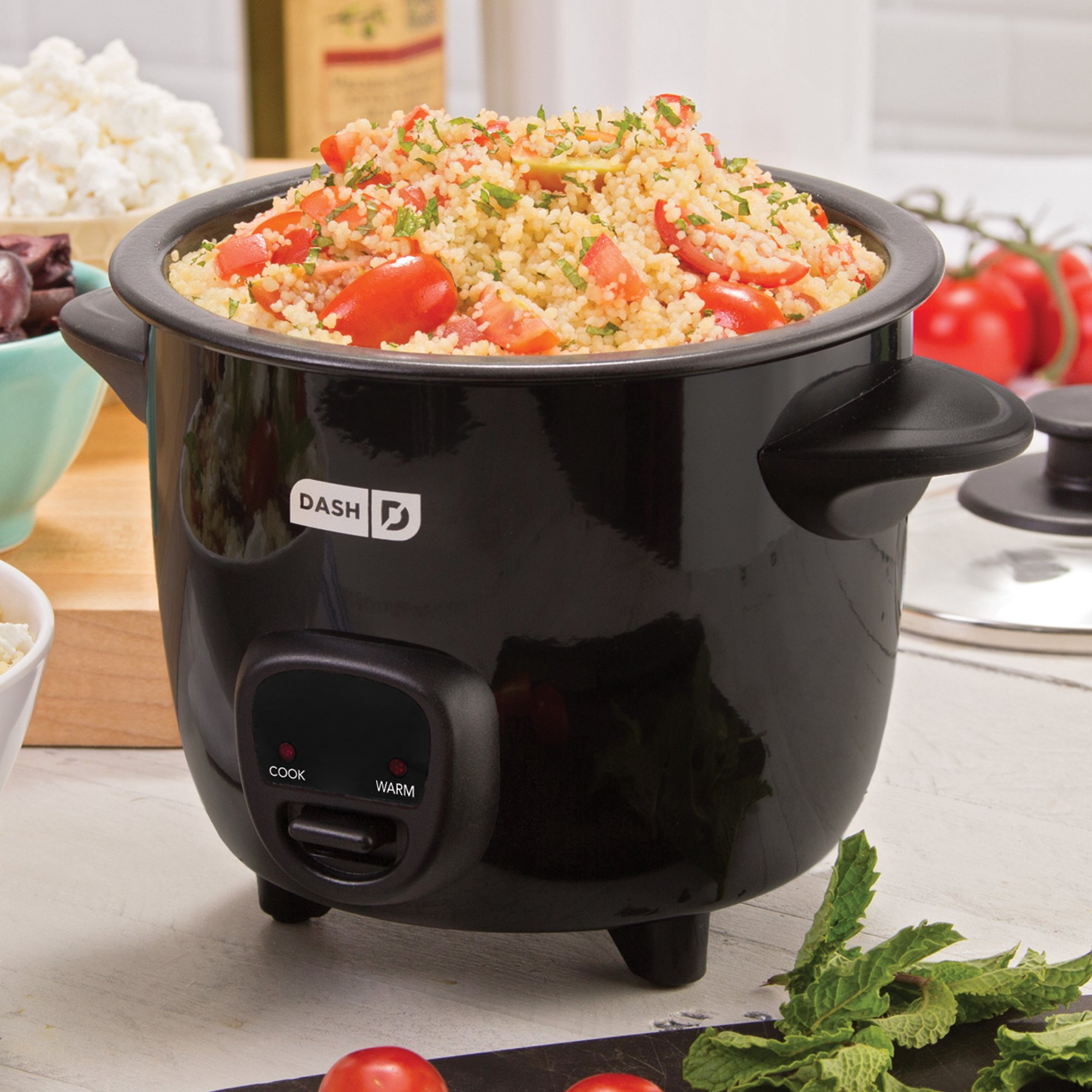 Dash DRCM200BK Mini Rice Cooker Steamer with Removable Nonstick Pot, Keep Warm Function and Recipe Guide -, 2 Cups, Great for Soups, Stews, Grains and Oatmeal -, Black by Dash (Image #2)