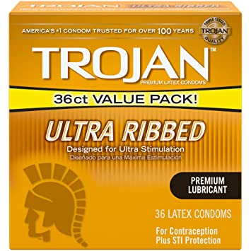 Amazoncom Trojan Stimulations Ultra Ribbed Lubricated Condoms