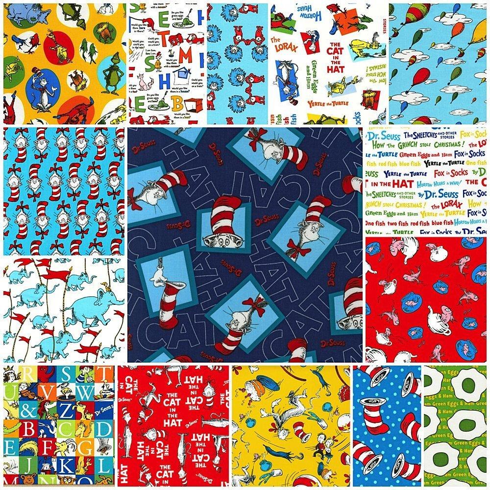 Robert Kaufman ORIGINAL DR SEUSS FAVORITES Jelly Roll 2.5-inch Fabric Quilting Strips Assortment