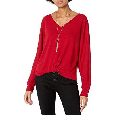 A. Byer Women's Junior's Long Sleeve Twist Front Top: Clothing