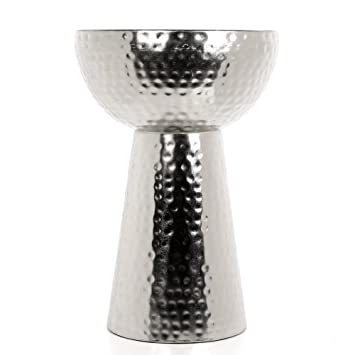 Hosleyu0027s Silver Finish Metal Hammered Garden Stool / End Table 20.5u0026quot;  High. Handcrafted By