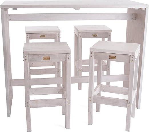 Ampel 24, Conjunto Vintage Oslo con Mesa Alta y 4 taburetes | Muebles de jardín de Madera de alerce | Alto de 110cm y 75cm | Shabby Chic Blanco: Amazon.es: Jardín