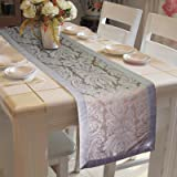 Lushomes Warm Jacquard with Polyester Border Table Runner (Silver, 16x72-inch)