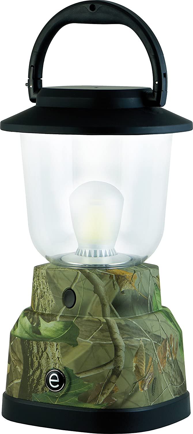 EcoSurvivor Portable LED Lantern, Green Camouflage Finish, Bright White 500 Lumens, Durable Outdoor, Dust Water Resistant, Hiking, Camping, Storm, Emergency, Carabiner Handle, 6 D Batteries, 11225