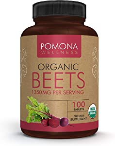 Pomona Wellness Organic Beets 1350mg, Made with Organic Beet Root Powder, Helps Reduce Blood Pressure,Supports Heart Health & Athletic Performance, Gluten-Free & Non-GMO, Vegan Supplement, 100 Tablets