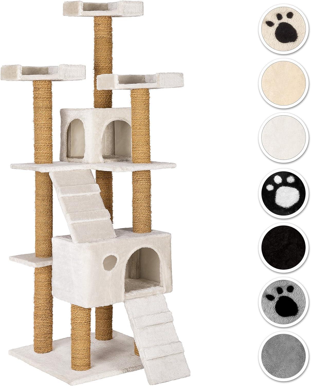 TecTake Rascador Árbol para Gatos 169 cm de Altura (Blanco | No ...