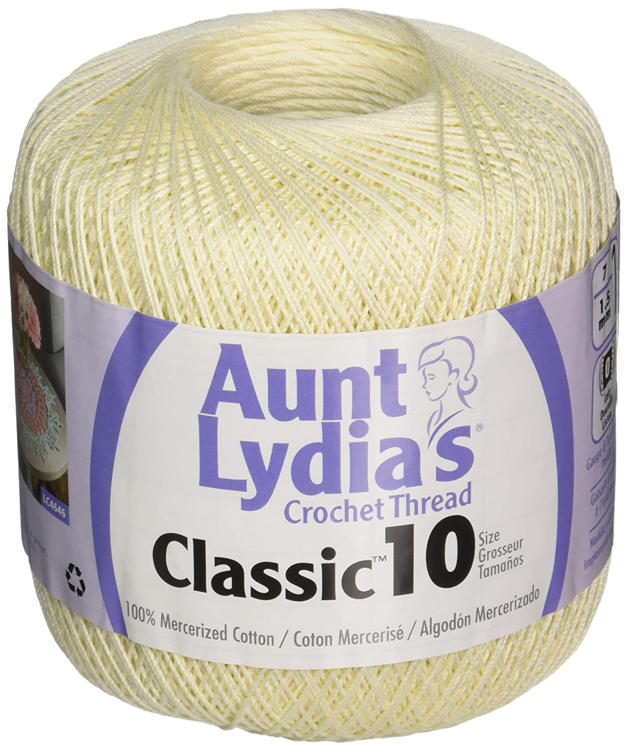 Amazon.com: Coats Crochet Aunt Lydias Crochet, Cotton Classic Size 10, Cream: Arts, Crafts & Sewing