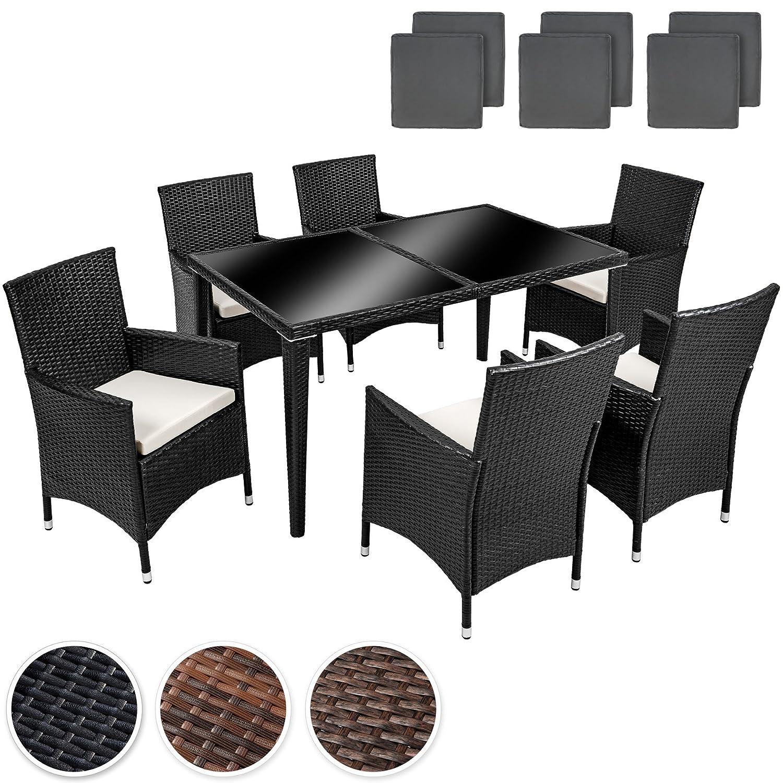 Arredo giardino rattan set tavolo sedie grigio poly for Arredo da giardino rattan