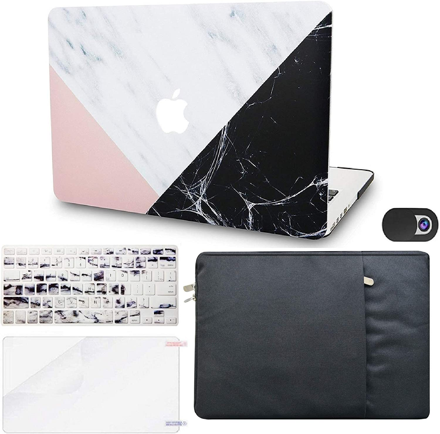 "KECC Laptop Case for MacBook Air 13"" Retina (2020, Touch ID) w/Keyboard Cover + Sleeve + Screen Protector + Webcam Cover (5 in 1 Bundle) Plastic Hard Shell Case A2179 (White Marble Pink Black)"