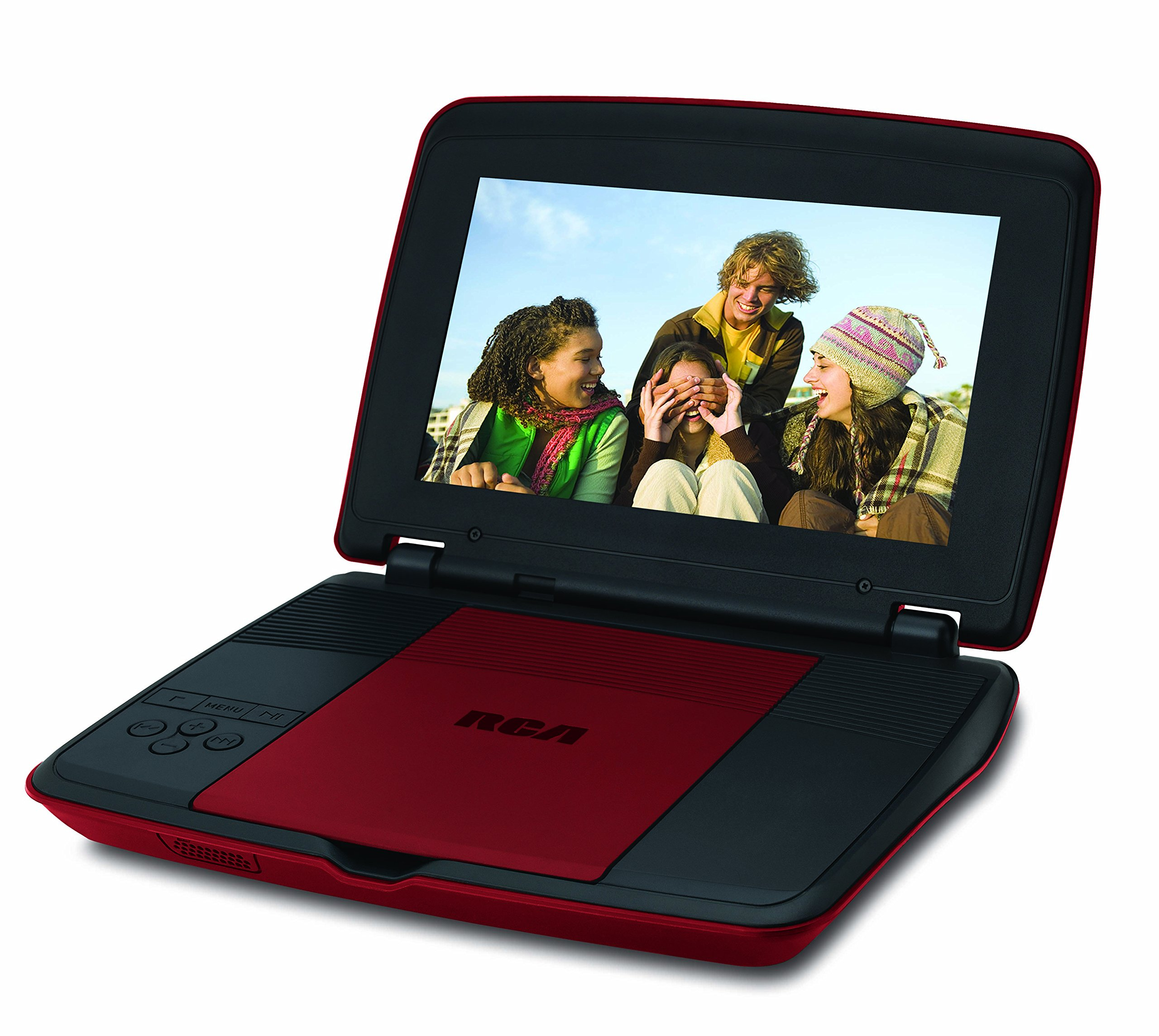 RCA 9 Inch Portable DVD CD Player with Travel Kit Watching in a Car Remote Control | Rechargeable Battery | AC Adapter | Car Charger, Red