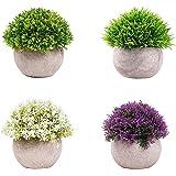 4 paquetes de plantas falsas artificiales mini macetas, arbustos topiarios de plástico, imitación de vegetación artificial pa