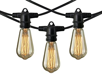 Commercial Patio Lights Amazon decorative patio style outdoor or indoor lighting 48 decorative patio style outdoor or indoor lighting 48 foot weatherproof commercial grade black string lights workwithnaturefo