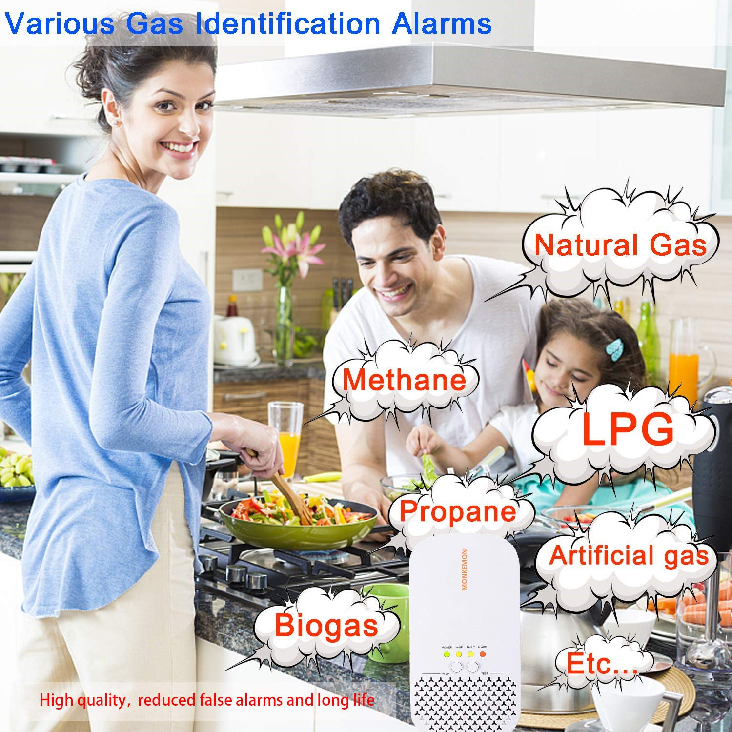 Monkemon Upgrade Plug-in Natural Gas Detector Propane Methane for Home Safety Combustible Gas Leak Alarm Sensor, High Sensitivity, Easy to Set Up and Use MK-GF401