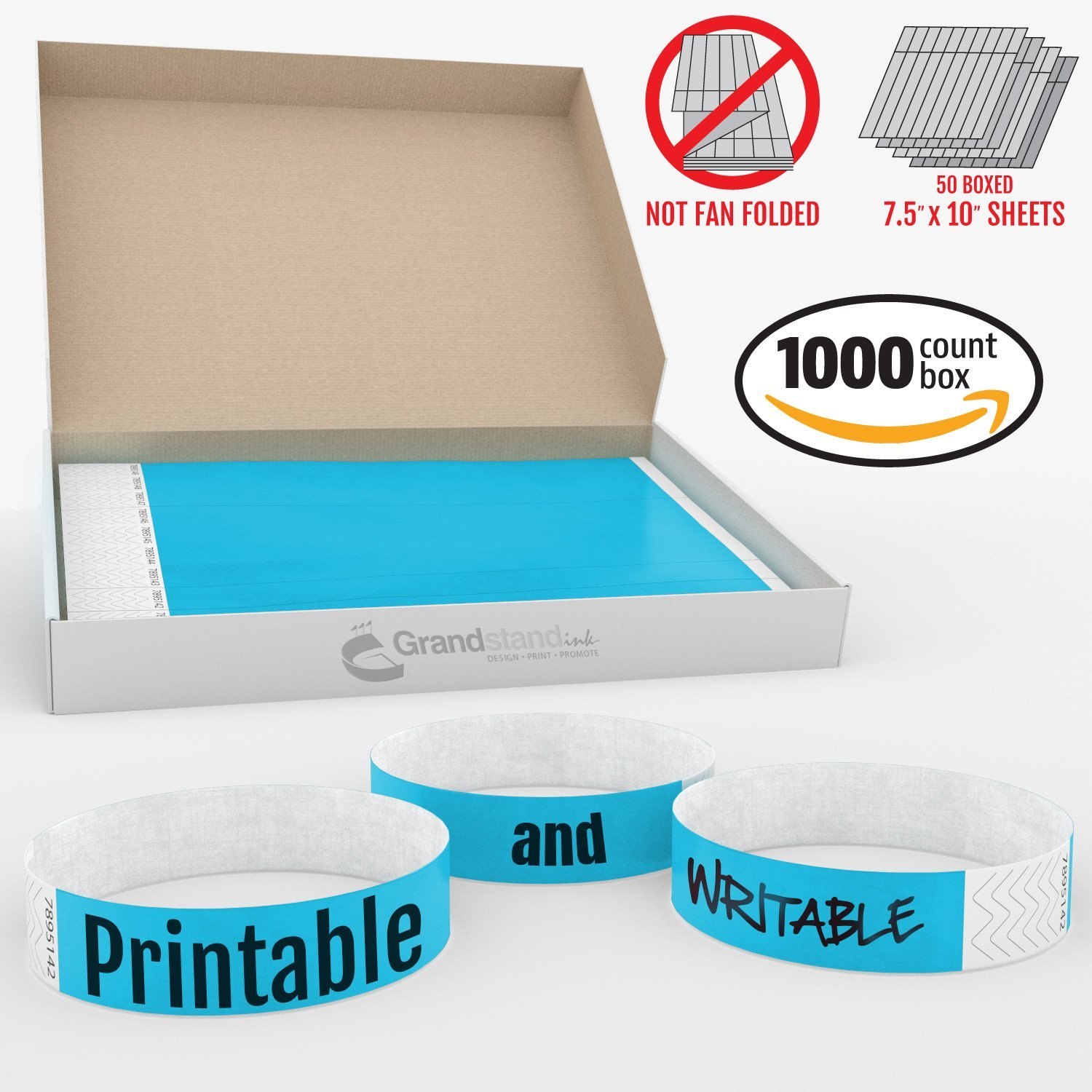 picture about Printable Wristband Sheets named Grandstand Ink - 3/4inside SKY BLUE Tyvek® Wristbands - Print