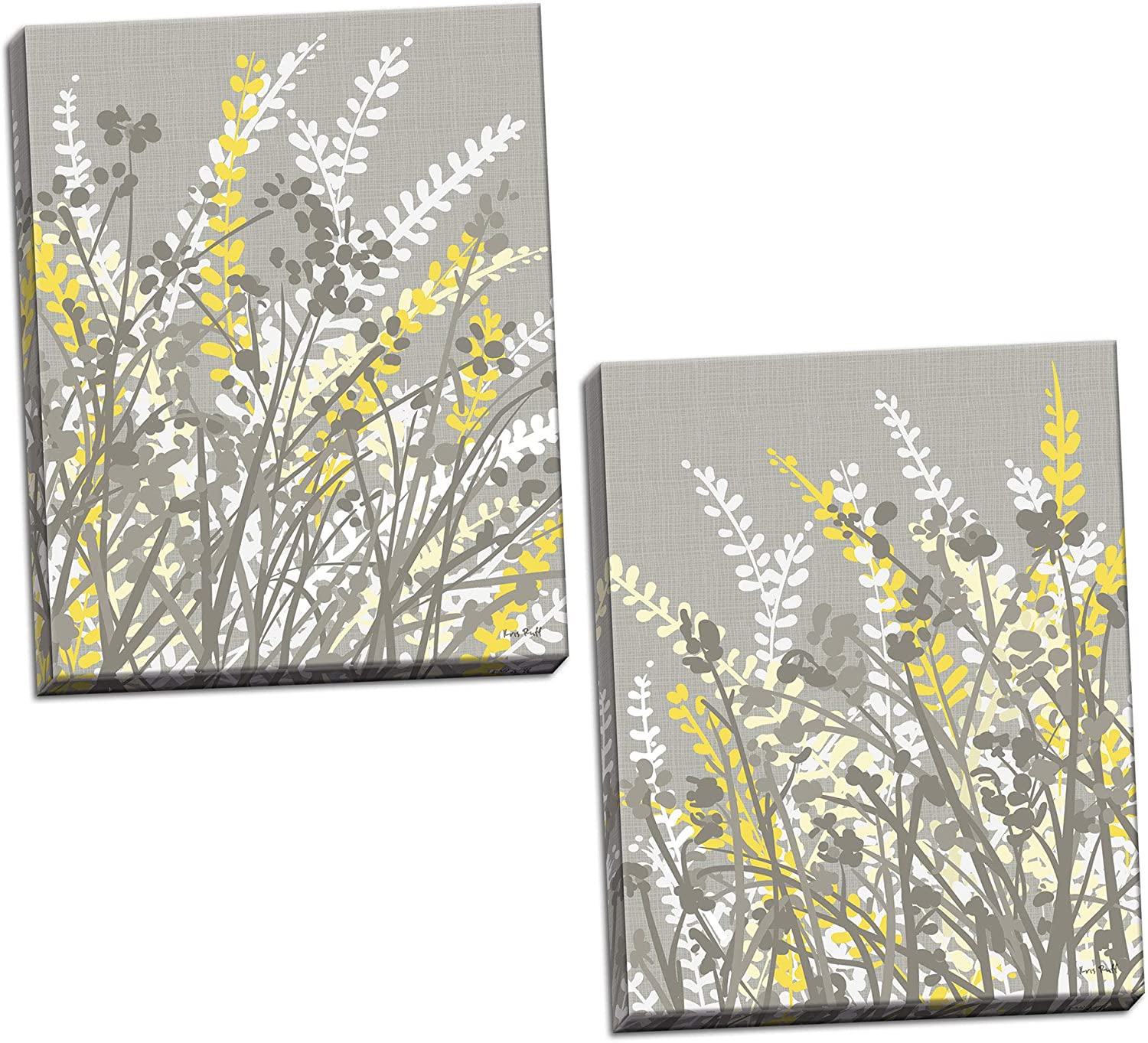 Gango Home Décor 2 Gray-Taupe, White and Yellow Floral Meadow Print Set; Two 16x20in Canvases