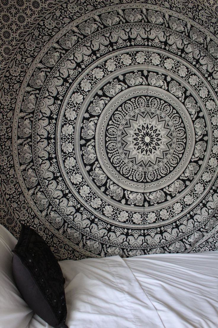 Amazon Jaipur Handloom Black And White Tapestry Elephant Mandala College Dorm Bohemian Bedspread Hippie Wall Hanging Indian