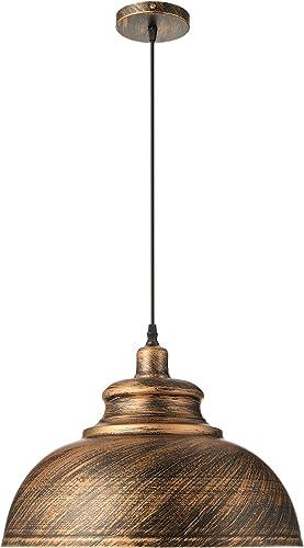KWOKING Lighting Industrial Vintage 1-Light Pendant Lights Hanging Lights Ceiling Lamp Indoor Lighting Chandelier with Metal Shade in Antique Bronze Finish 11.81inch
