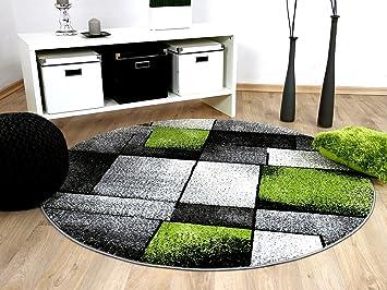 Designer teppich brilliant grau grün fantasy rund in größen