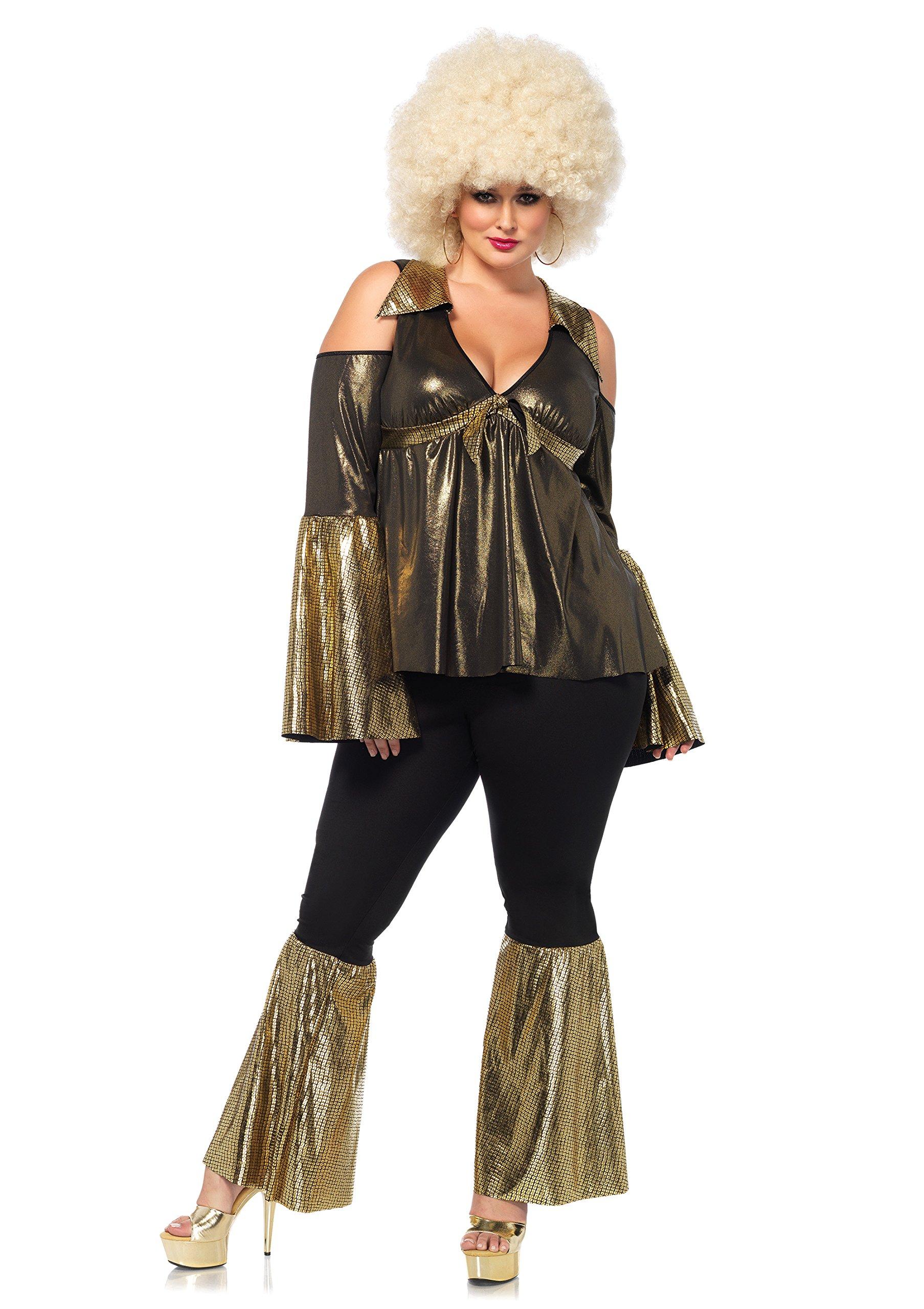Leg Avenue Women's Plus Size Disco Diva Costume, Black/Gold, 1X-2X