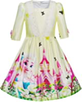 Girls Dress Princess Elsa Castle Butterfly 3/4 Sleeve Dress Age 4-12 Years