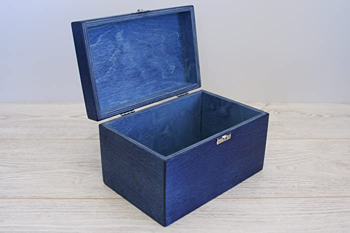 Attirant Blue Wooden Box / Blue Box / Storage Box / Baby Shower Gift Box / Keepsake