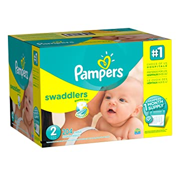 f8c894b81a60 Pampers Swaddlers Disposable Baby Diapers Size 2, One Month Supply, 204  Count (Old version)