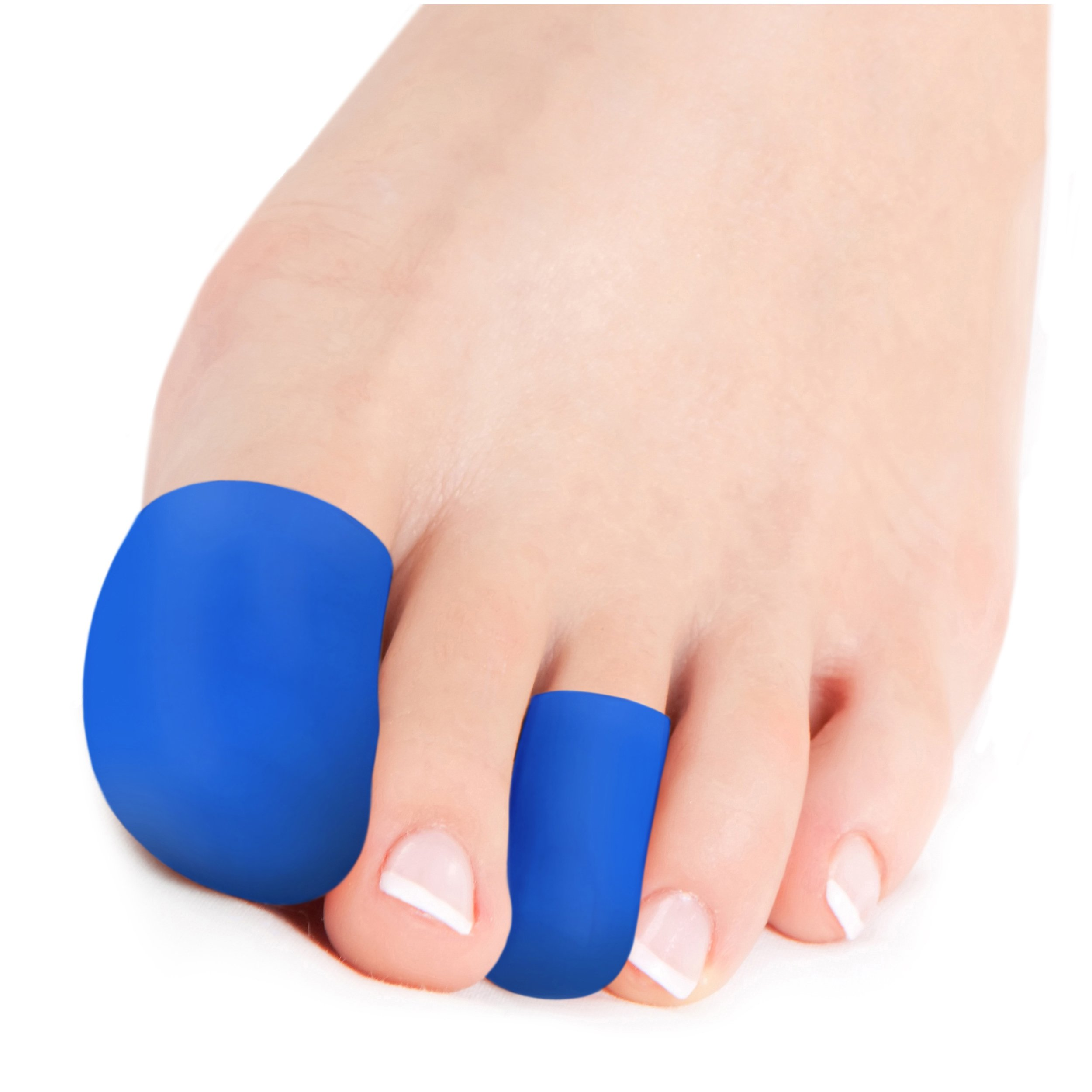 Squad Goods Silicone Toe Cap protector and finger sleeves - 6 Pieces Blue with Bonus Travel Case