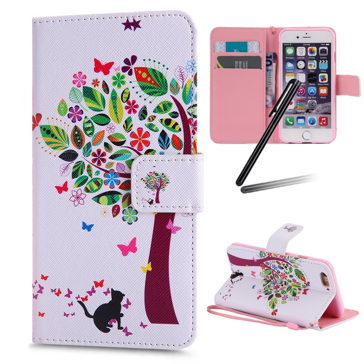 iPhone 6S Stand Case, iPhone 6 Wallet Case, iPhone 6S Flip Case, iPhone 6 PU Case Girl, SKYMARS Beautiful Art Painted Pattern PU Leather Flip Kickstand Cards Slot Wallet Magnetic Closure Protection Book Style Case for iPhone 6 / 6S Pink Flower Tree