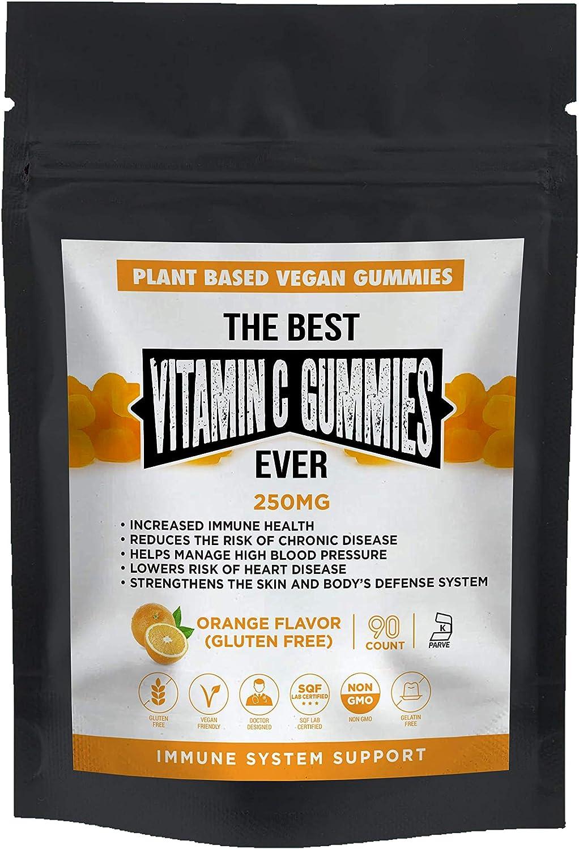 The Best Vitamin C Gummies Ever Vegan Plant Based Gluten & Gelatin Free Non GMO Kosher Natural Orange Flavor 250mg Immune Support Gummy for All Ages Adults Men Women & Kids 90 Count